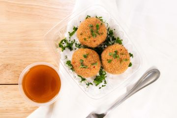 chickpea balls with red pepper paste dip