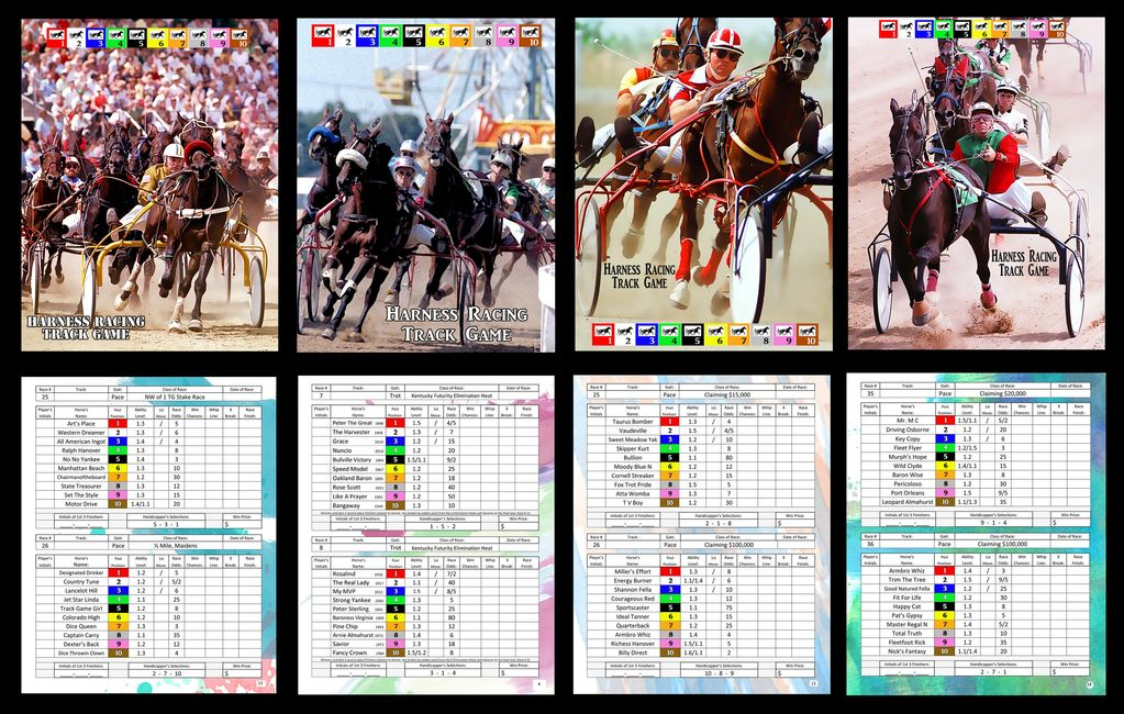Samples of HRTG program covers and four pages of races with their scoring pages.