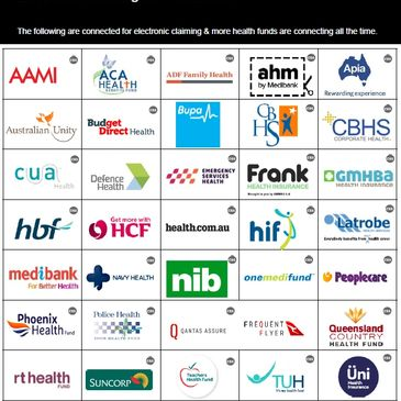 An array of private health funds available to claim under Healthpoint