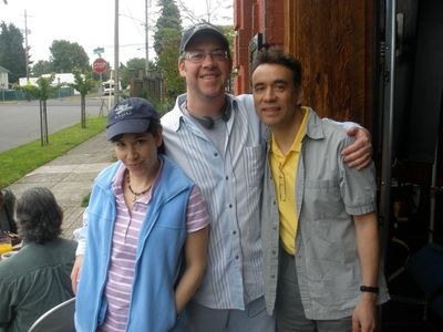 "On set of the ""Portlandia"" pilot in Portland, OR in 2010 with Carrie Brownstein and Fred Armisen."