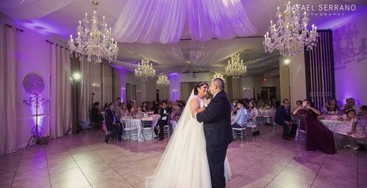 elegant wedding venue with dramatic modern ceiling drapery first dance as a couple minutes from DFW