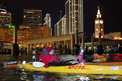 Warm hat would be wise for an evening paddle in San Francisco.