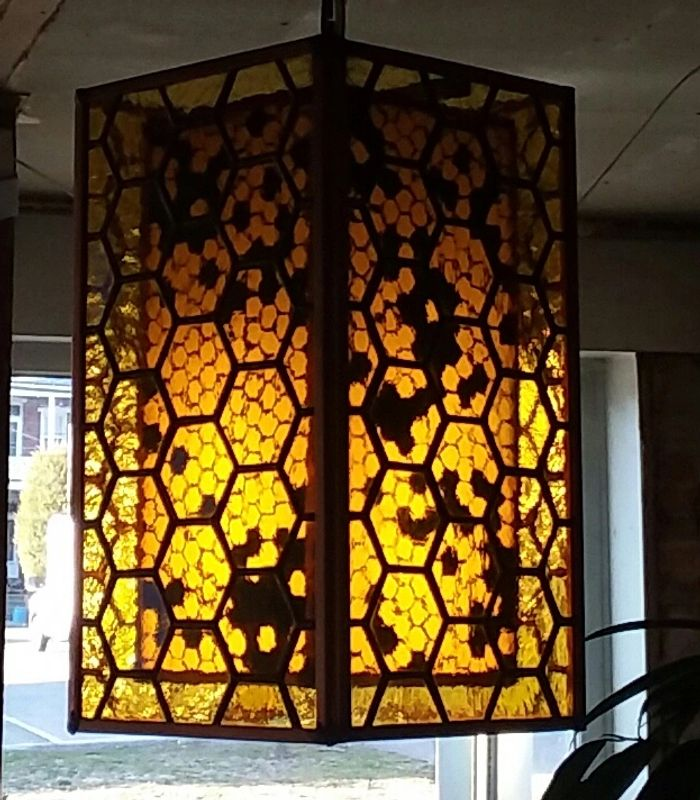 Stained Glass honeycomb lamp with fused glass