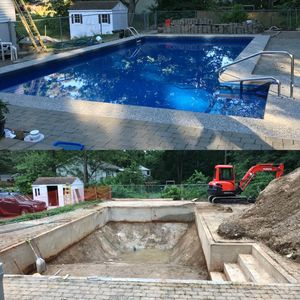 Excavation of a filled in pool. the before and after. excavating contractor, Atkinson, NH