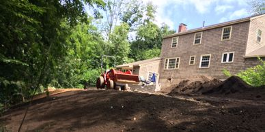 Lawn Install Prepped and ready for seed with 20 feet of slope Landscape Services, Atkinson NH