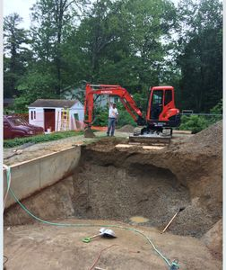 Excavation of a filled in pool excavating contractor, Atkinson NH