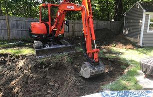 3' deep x 24' dia excavation to install a sunken pet pool. Pool Digging Services, Atkinson NH