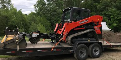 Stump Grinder on the trailer with the bucket Stump Grinding, Atkinson, NH  serving southern NH