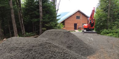 "Driveway  install 1 1/2"" crushed Gravel Base with ledge pack top. Excavation Services, Atkinson NH"