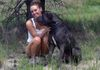 "Lindsay and her mastiff ""Blix"""