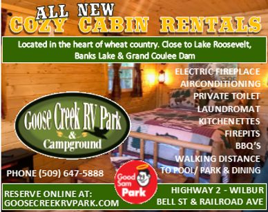 New cabin rentals in Wilbur, Washington. Close to community pool, park, golfing, winery, ORV Park