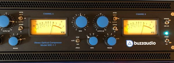 Mastering grade stereo optical compressor, the Buzz Audio SOC 1.1, recording studio, Chicago area