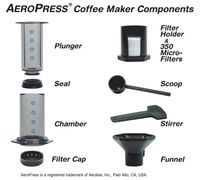 This shows the individual parts of the Aeropress