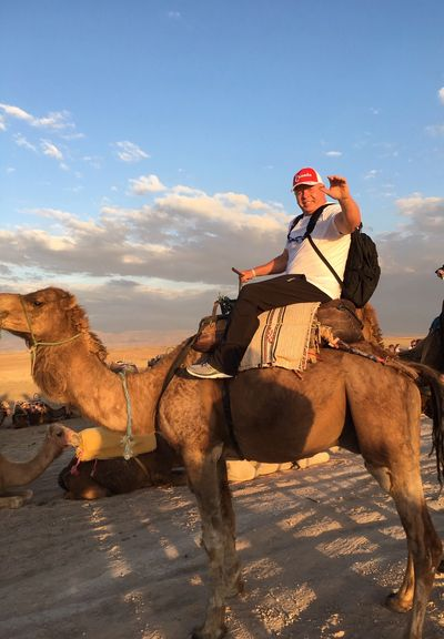 Our Fearless President Trekking Across The Moroccan Desert.
