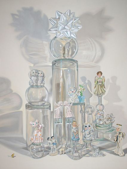 contemporary still life art nyc nancy margolis stealth peace provenzano painting figurines glassware