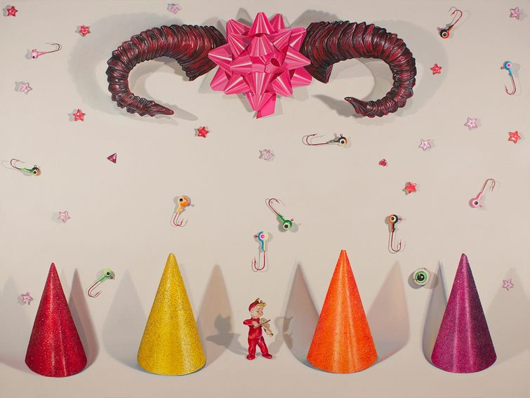 Hell Devil Fishing lures party hats stars contemporary still life painting glitter horns nyc art