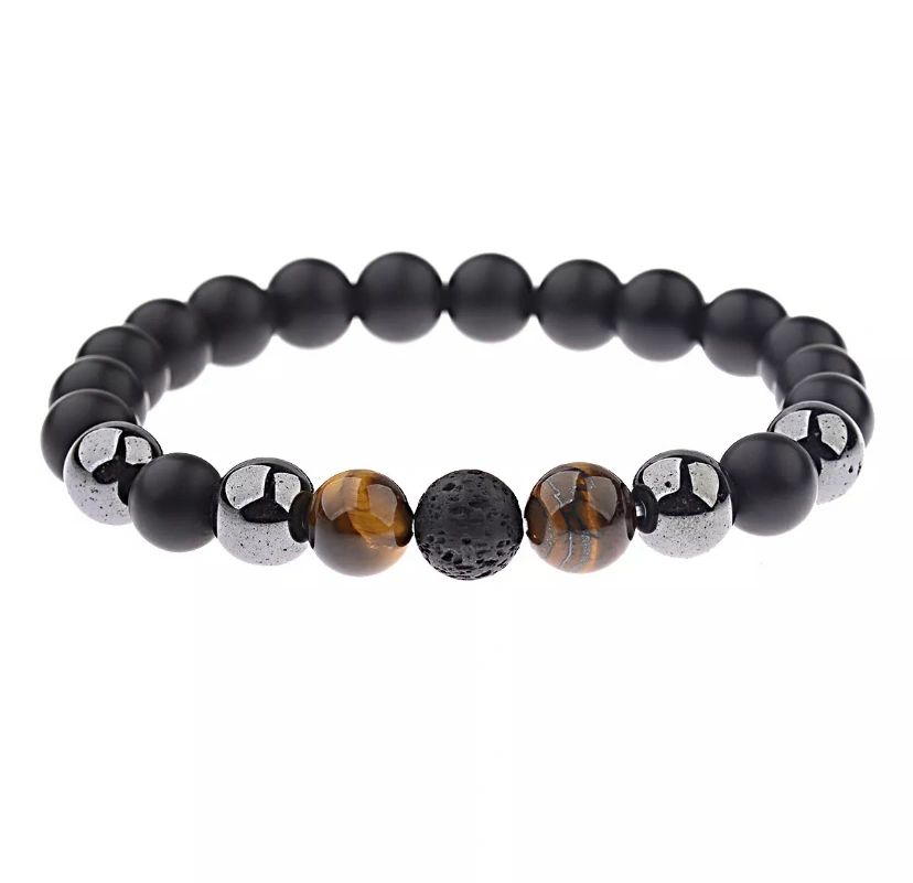 10mm Black Onyx+Lava+Hematite+Tigers Eye Gemstone Men/'s Beaded Bracelets Gifts