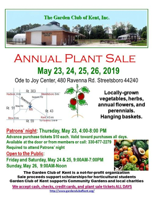Annual Plant sale flyer for 2019