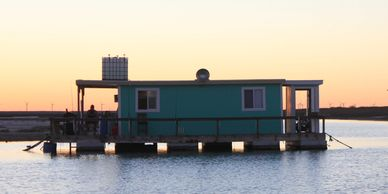 Laguna Adventures Floating fishing cabin. Corpus Christi Fishing Guide charter. Corporate trips