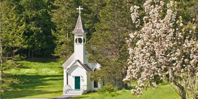 Image of Victorian Valley Chapel weddings on Orcas Island Didier Gincig, wedding officiant