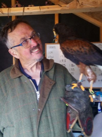 Keith with Derek the Harris Hawk