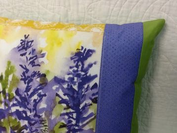Pillow made from Art Quilt Block by Kathleen McElwaine