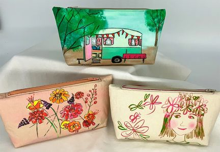 Zip Pouches featuring a camper flowers and little girl face