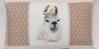Pillow made from Llama fabric art print