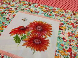 Sewing project featuring Indian Blanket Flower with bee fabric art print