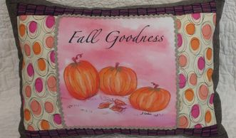 pillow made from fall pumpkins fabric art print