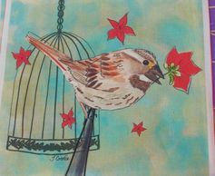 Bird and Birdcage art fabric print
