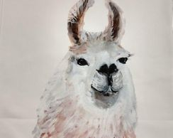 Quilt Block Art Llama fabric art print