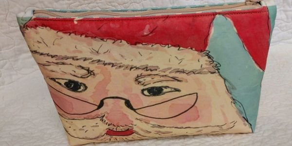 Small zipper pouch purse featuring Vintage Santa Face original art by Tina Cordia