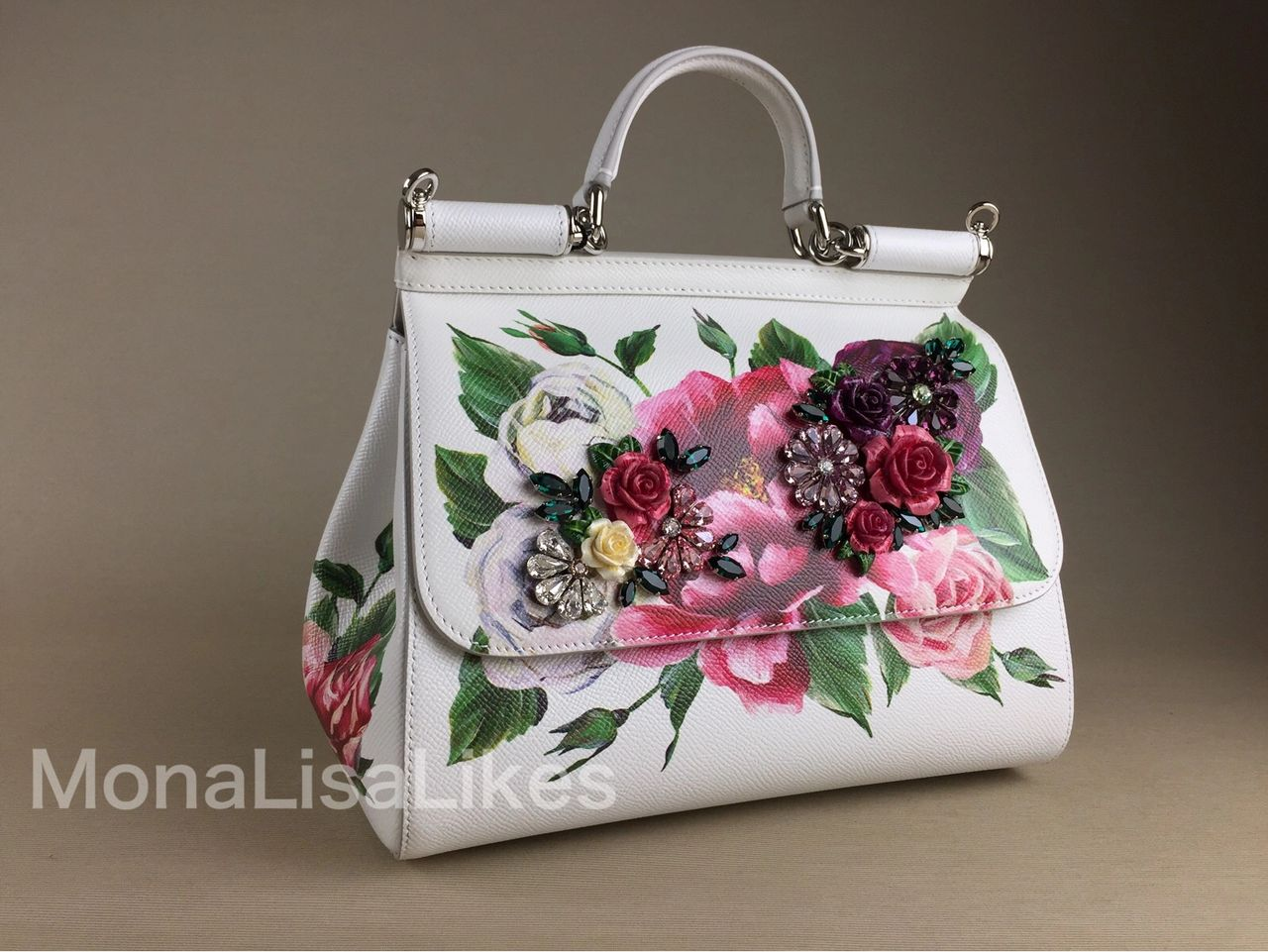fef53eb24dfac Authentic DOLCE   GABBANA floral peony embellished Miss Sicily bag handbag  in medium size from SS