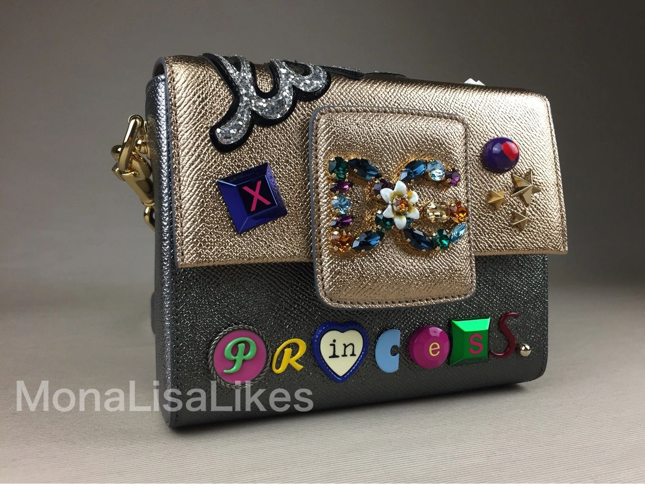 Embellished DG MILLENIALS bag in gold metallic leather
