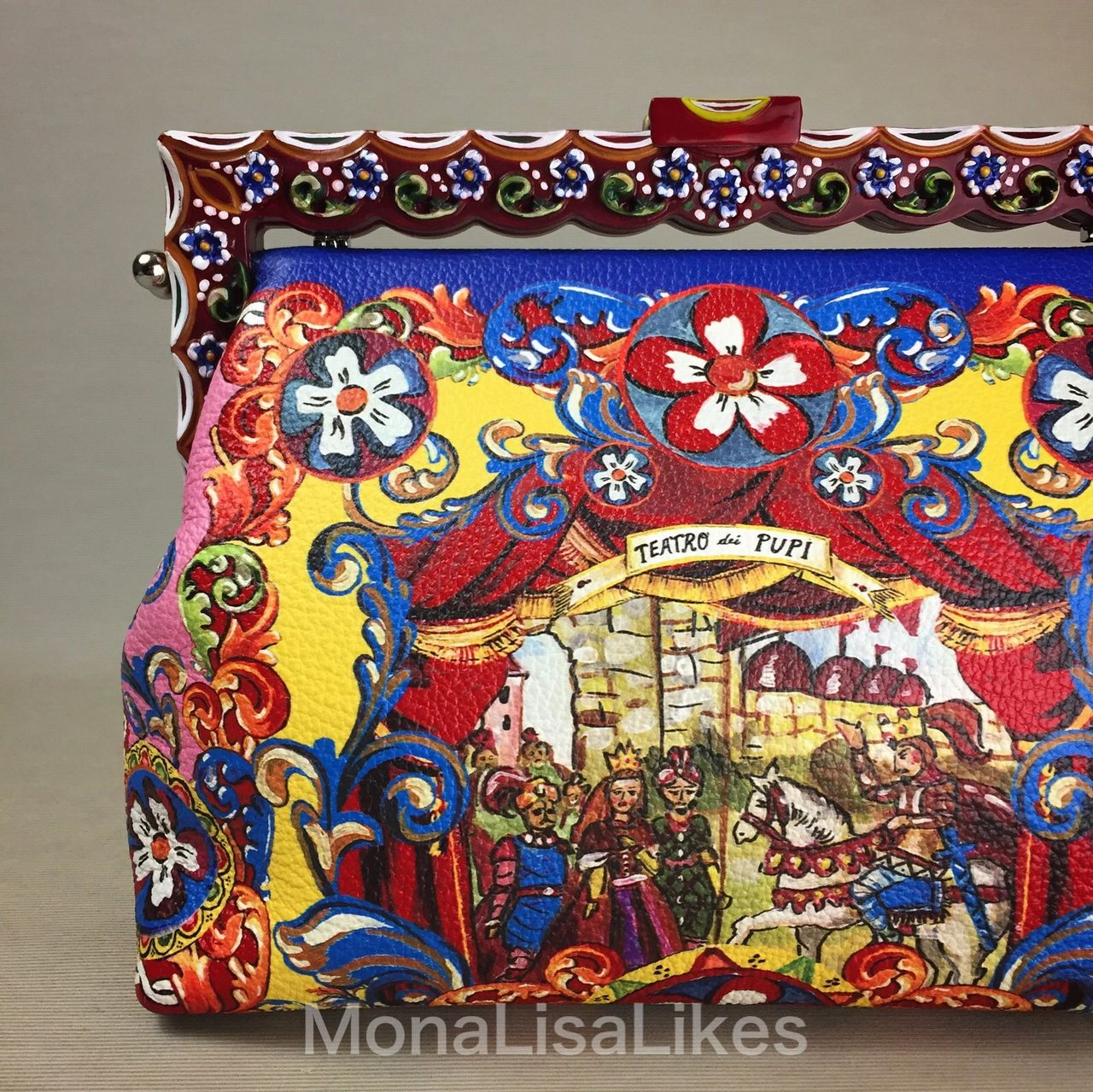 Carretto Siciliano print on DOLCE & GABBANA Vanda bag with hand painted wooden frame