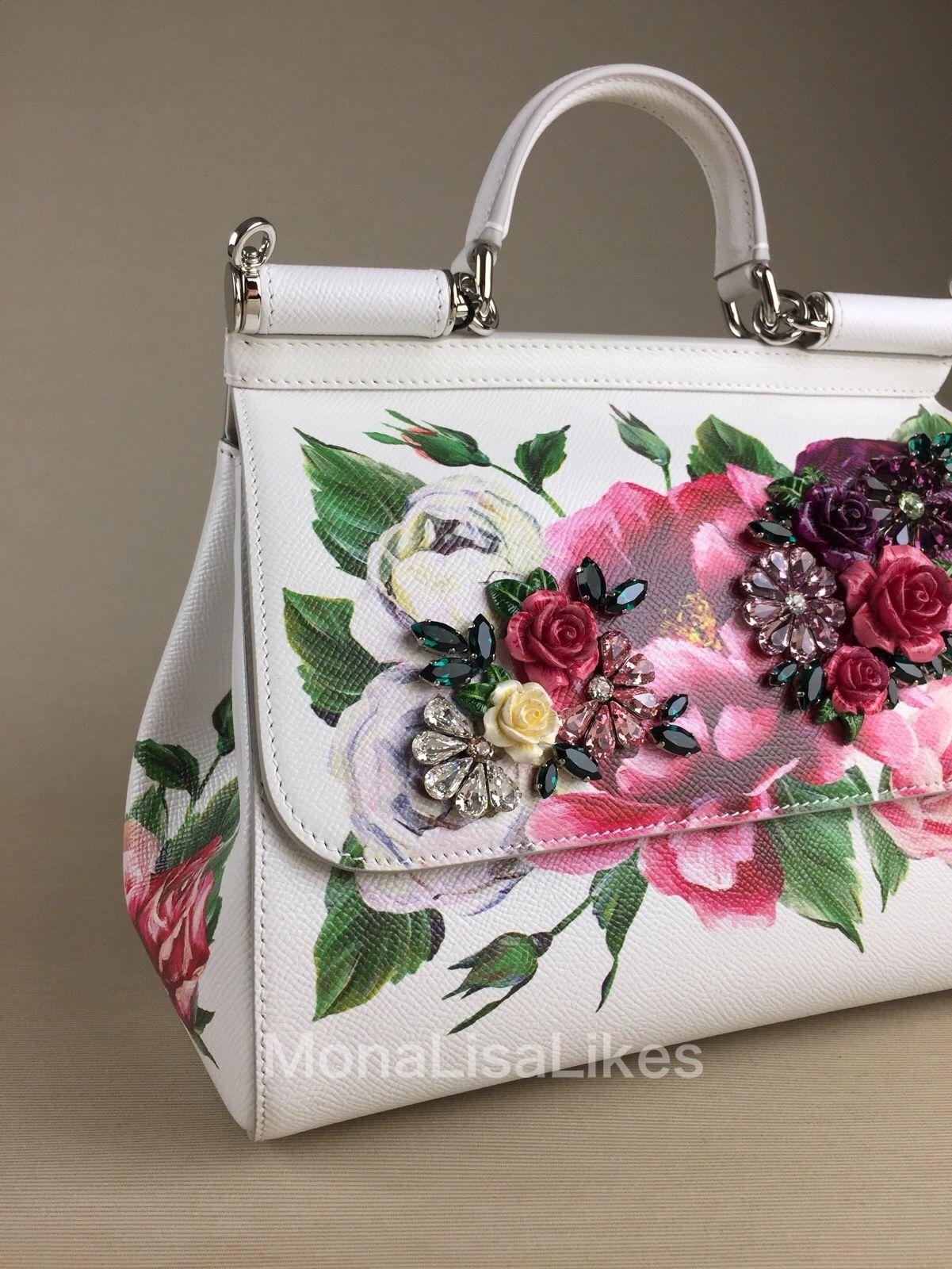 DOLCE   GABBANA Miss Sicily Peony Embellished handbag 67b3ed831e8f1