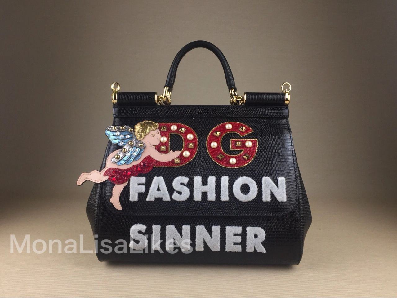 DOLCE   GABBANA angel embellished mediummiss sicily bag in black dauphine  leather This DOLCE   GABBANA Fashion Sinner Miss ... cf680f0566d07