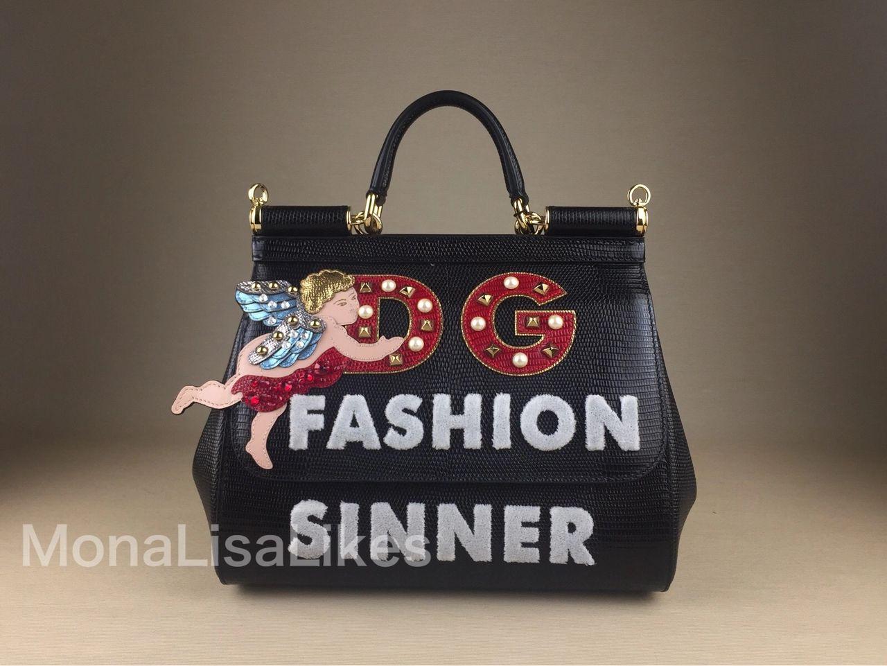 DOLCE & GABBANA angel embellished mediummiss sicily bag in black dauphine leather