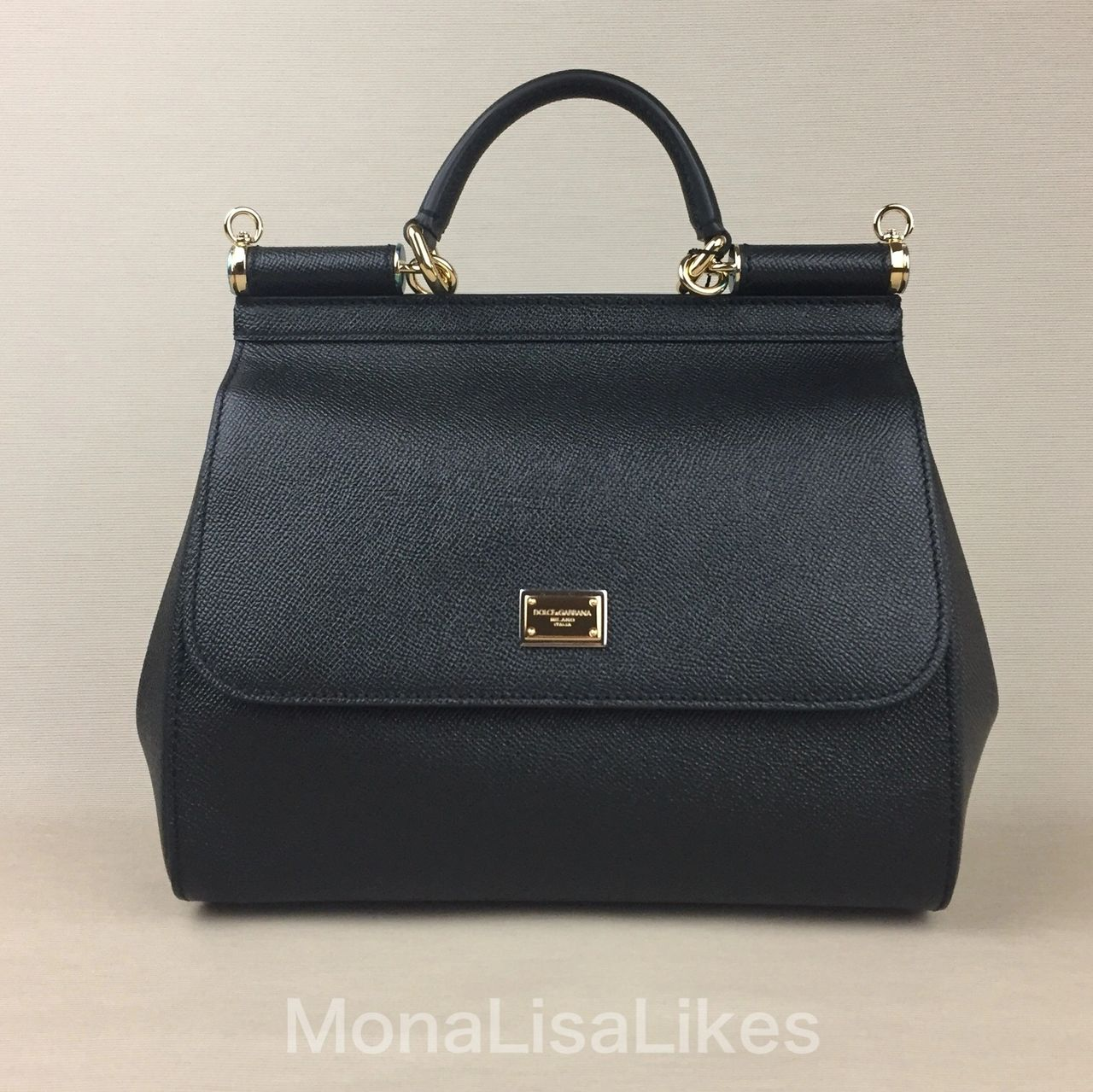 Classic DOLCE & GABBANA Miss Sicily bag in black Dauphine leather. It remains on market without major changes since early 2000-s