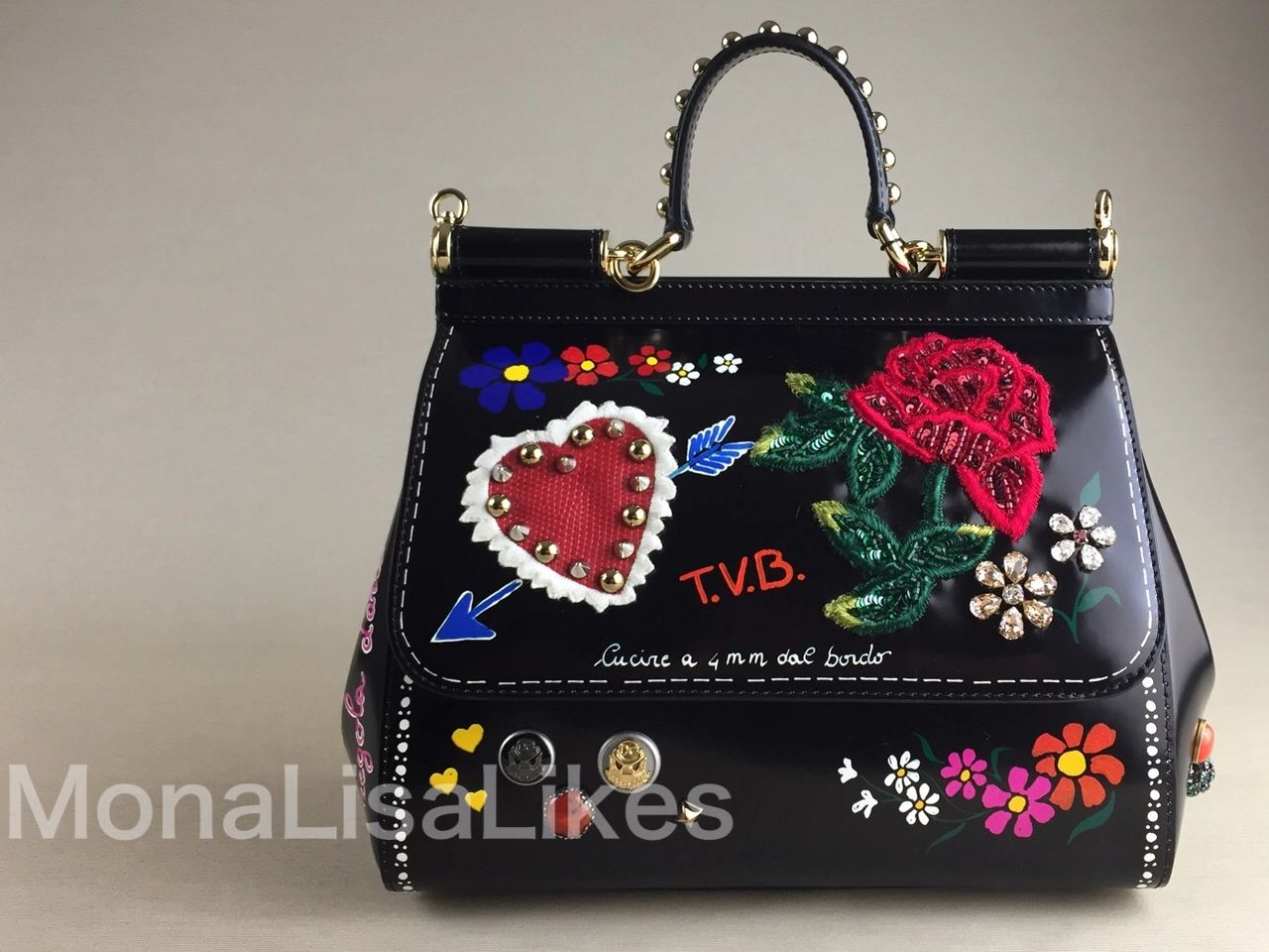 DOLCE & GABBANA Miss Sicily bag with graffiti print and heart embroidery from Fall Winter 2018-2019 Collection