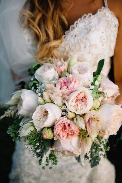Blushing bride proteas and garden rose bouquet