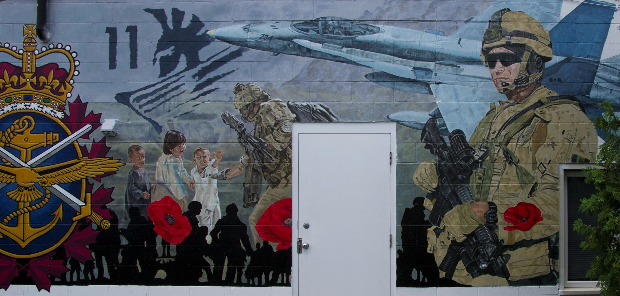 Canadian soldiers in Afghanistan. Military Mural. Ontario mural. Remembrance mural. Jet aircraft.