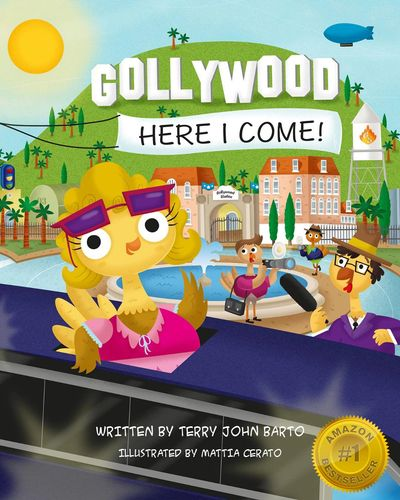 The fantastic, award-winning cover of Gollywood, Here I Come! illustrated by Mattia Cerato