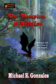 Book cover Vampires of Antyllus, winged creature in blue forest
