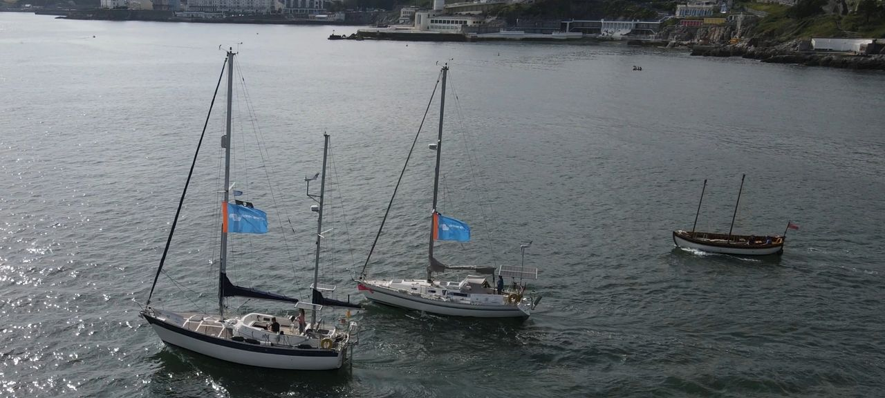 Electric sailboats, Muhuhu and Nazca in Plymouth Sound
