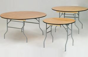 Wood Round Banquette Folding Table for Sale