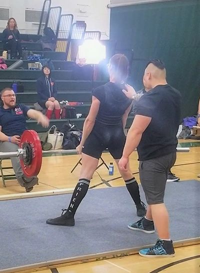 Beth Stelzer deadlifting at the 2019 USAPL Minnesota Women's State Championships.