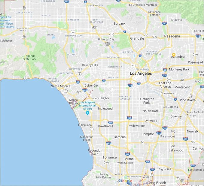Los Angeles County remodeling areas served map.