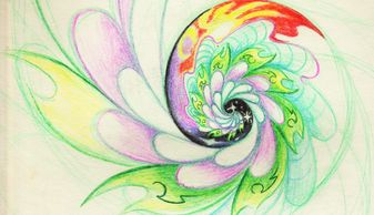 Spiral swirl sketch done with colored pencils